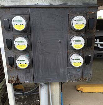 Example of old corroded meter center at Seascape Condominiums.